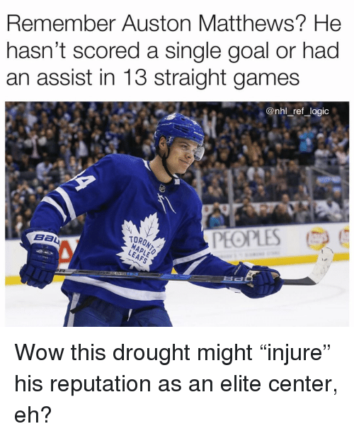 """Auston Matthews: Remember Auston Matthews? He  nasn't scored a single goal or had  an assist in 13 straight games  @nhl _ref _logic  PEOPLES  TORONT Wow this drought might """"injure"""" his reputation as an elite center, eh?"""