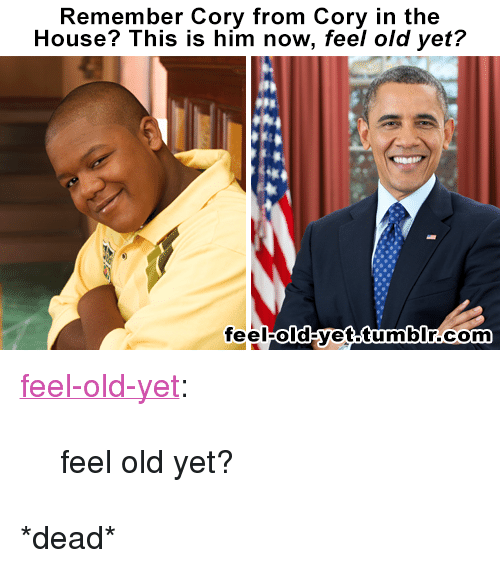 """Cory in the House: Remember Cory from Cory in the  House? This is him now, feel old yet?  feelold yet tumbIr.com <p><a href=""""http://feel-old-yet.tumblr.com/post/120479360729/cory-in-the-house"""" class=""""tumblr_blog"""">feel-old-yet</a>:</p>  <blockquote><p>feel old yet?</p></blockquote>  <p>*dead*</p>"""