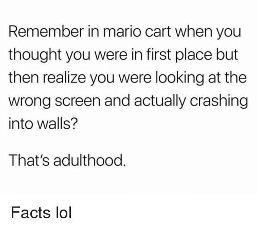 mario cart: Remember in mario cart when you  thought you were in first place but  then realize you were looking at the  wrong screen and actually crashing  into walls?  That's adulthood Facts lol