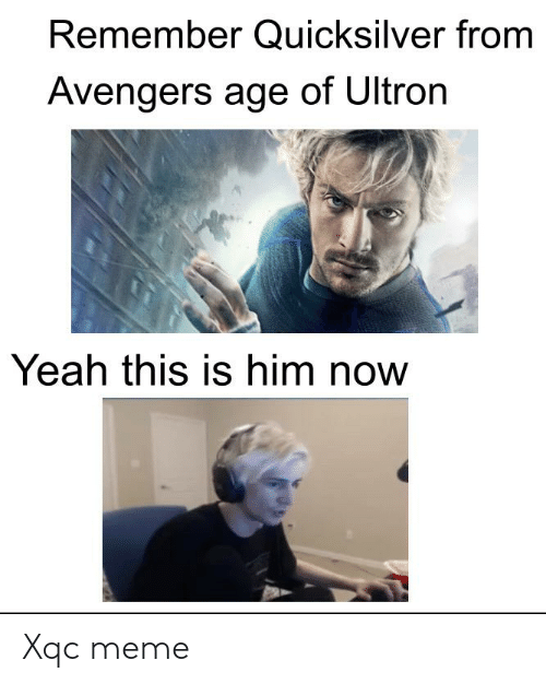 quicksilver: Remember Quicksilver from  Avengers age of Ultron  Yeah this is him now Xqc meme
