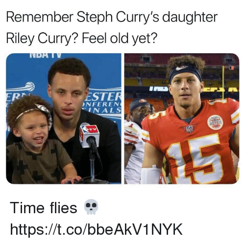 Football, Nfl, and Riley Curry: Remember Steph Curry's daughter  Riley Curry? Feel old yet?  ESTER  NFEREN  INALS Time flies 💀 https://t.co/bbeAkV1NYK