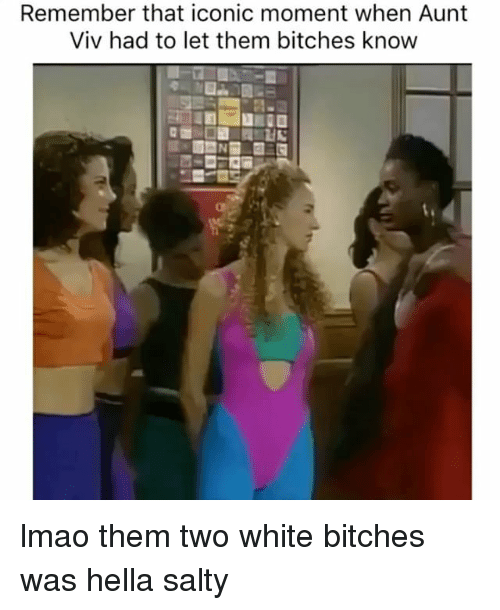 Aunt Viv: Remember that iconic moment when Aunt  Viv had to let them bitches know lmao them two white bitches was hella salty