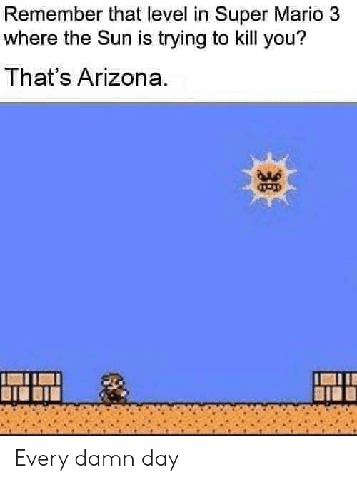 Super Mario: Remember that level in Super Mario 3  where the Sun is trying to kill you?  That's Arizona. Every damn day