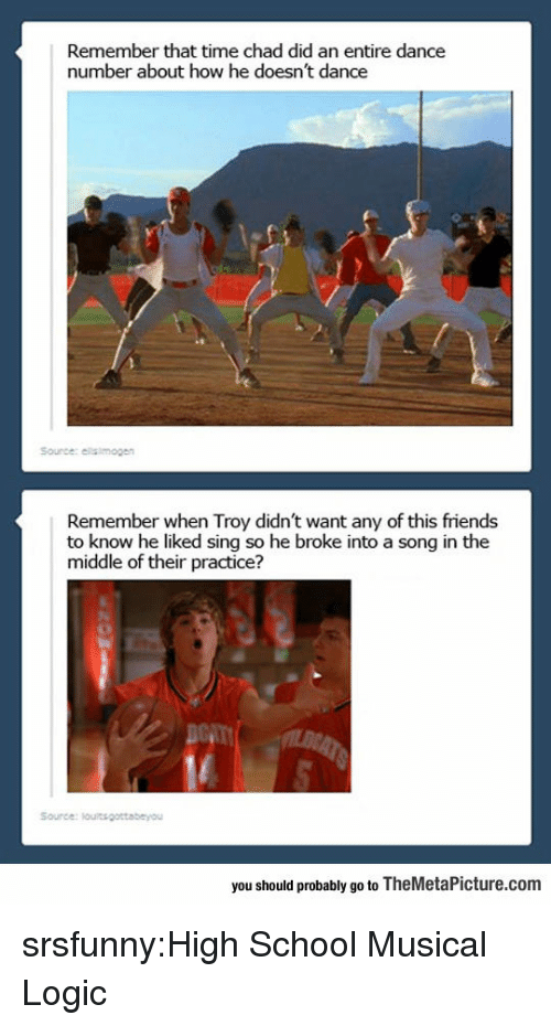 High School Musical: Remember that time chad did an entire dance  number about how he doesn't dance  Source: elalmogen  Remember when Troy didn't want any of this friends  to know he liked sing so he broke into a song in the  middle of their practice?  you should probably go to TheMetaPicture.conm srsfunny:High School Musical Logic