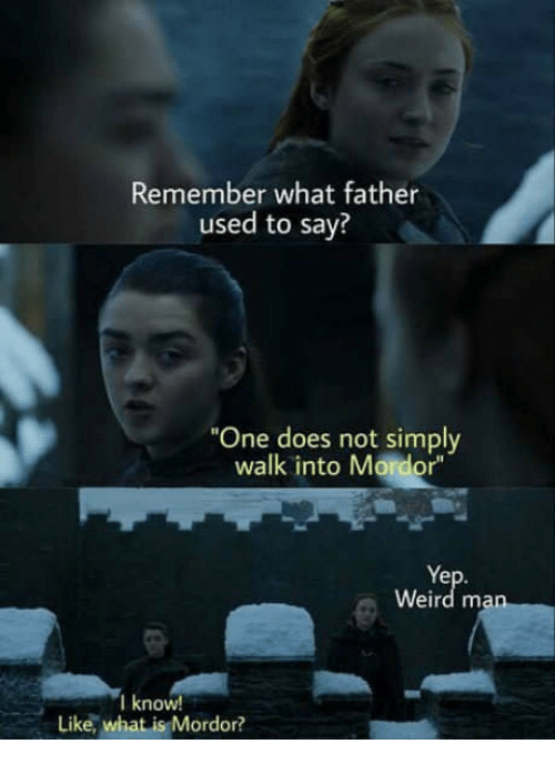 """Weird, What Is, and One: Remember what father  used to say?  """"One does not simply  walk into Mordor""""  Ye  Weird ma  l know  Like, what is Mordor?"""