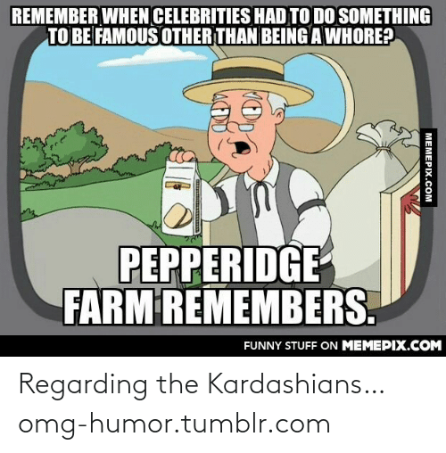 Kardashians: REMEMBER WHEN CELEBRITIES HAD TO DO SOMETHING  TO BE FAMOUS OTHER THAN BEING AWHORE?  PEPPERIDGE  FARM REMEMBERS.  FUNNY STUFF ON MEMEPIX.COM  MEMEPIX.COM Regarding the Kardashians…omg-humor.tumblr.com