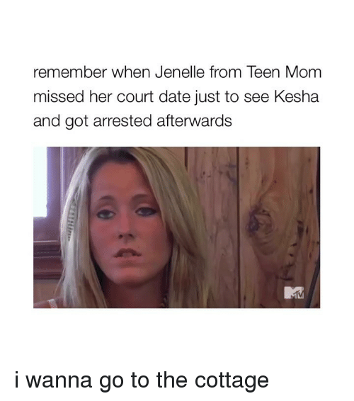 Teen Mom: remember when Jenelle from Teen Mom  missed her court date just to see Kesha  and got arrested afterwards i wanna go to the cottage