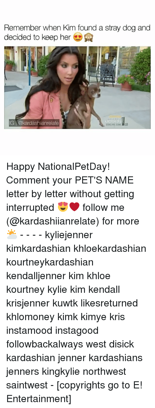 Kardashians, Memes, and Pets: Remember when Kim found a stray dogand  decided to keep her  IG @kardashianrelate  (ONLINE COM Happy NationalPetDay! Comment your PET'S NAME letter by letter without getting interrupted 😍❤️ follow me (@kardashiianrelate) for more ⛅️ - - - - kyliejenner kimkardashian khloekardashian kourtneykardashian kendalljenner kim khloe kourtney kylie kim kendall krisjenner kuwtk likesreturned khlomoney kimk kimye kris instamood instagood followbackalways west disick kardashian jenner kardashians jenners kingkylie northwest saintwest - [copyrights go to E! Entertainment]