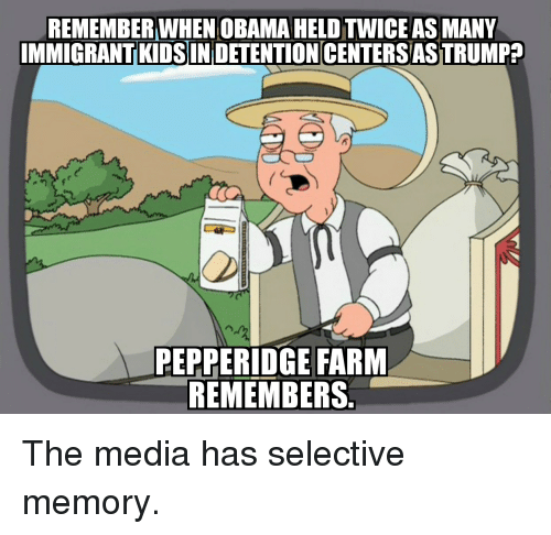 Obama, Kids, and Trump: REMEMBER WHEN OBAMA HELD TWICE AS MANY  IMMIGRANT KIDSIN DETENTION CENTERS AS TRUMP?  PEPPERIDGE FARM  REMEMBERS The media has selective memory.