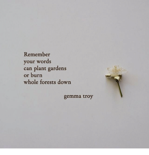 gemma: Remember  your words  can plant gardens  or burn  whole forests down  gemma troy