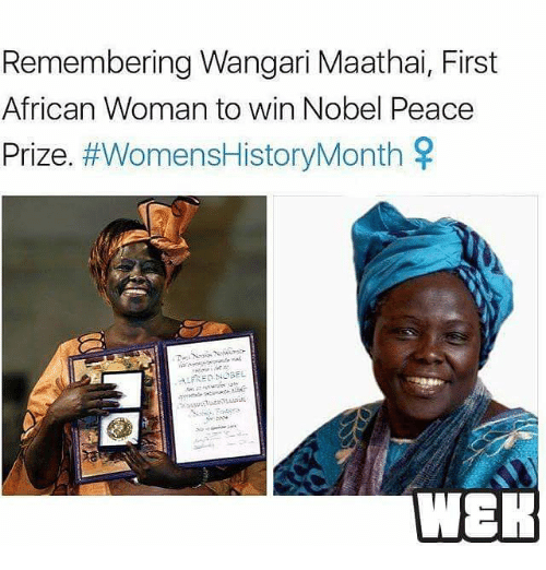 Memes, 🤖, and Woman: Remembering Wangari Maathai, First  African Woman to win Nobel Peace  Prize  #WomensHistoryMonth  SR  :ALFRED NOBEL  WER