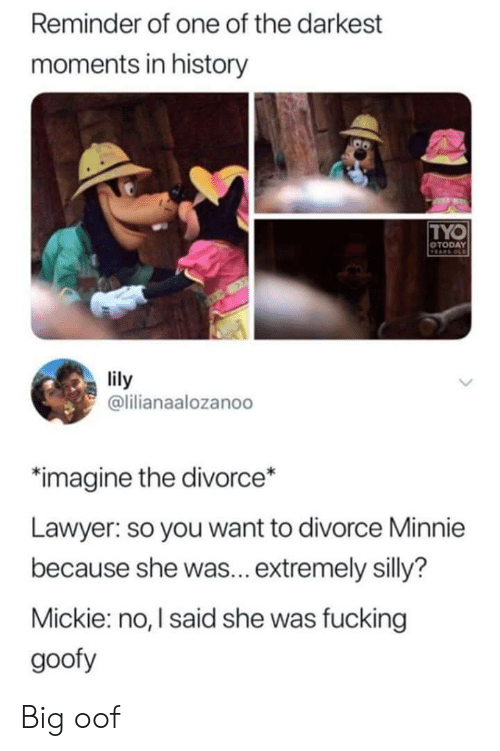 goofy: Reminder of one of the darkest  moments in history  TYO  OTODAY  VEARS OLD  lily  @lilianaalozanoo  imagine the divorce*  Lawyer: so you want to divorce Minnie  because she was... extremely silly?  Mickie: no, I said she was fucking  goofy Big oof