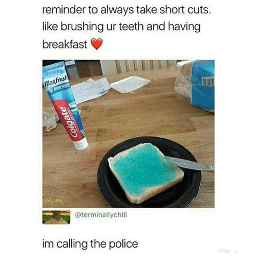 Memes, Police, and Breakfast: reminder to always take short cuts.  like brushing ur teeth and having  breakfast »  axFres  @terminallychill  im calling the police