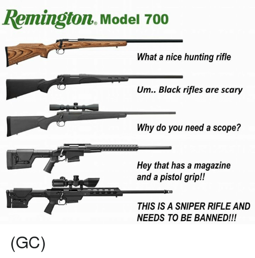 Memes, Hunting, and Black: Remington. Model 700  What a nice hunting rifle  Um.. Black rifles are scary  Why do you need a scope?  Hey that has a magazine  and a pistol grip!!  THIS IS A SNIPER RIFLE AND  NEEDS TO BE BANNED!!! (GC)