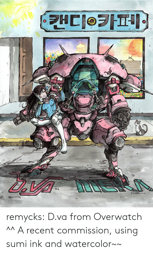 D Va: remycks: D.va from Overwatch ^^ A recent commission, using sumi ink and watercolor~~