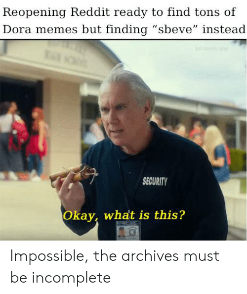 "Dora Memes: Reopening Reddit ready to find tons of  Dora memes but finding ""sbeve"" instead  SECURITY  Okay, what is this? Impossible, the archives must be incomplete"
