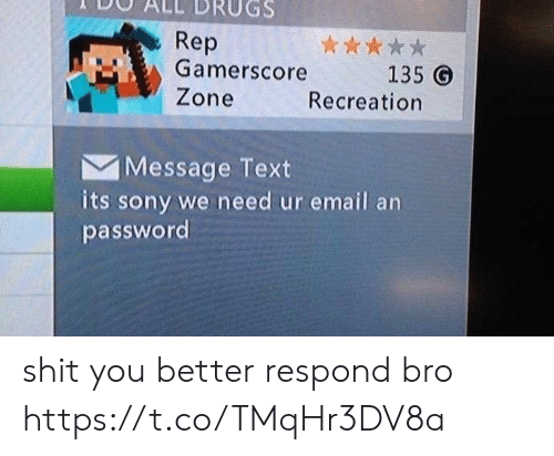 Sony: Rep  Gamerscore  Zone  135 G  Recreation  Message Text  its sony we need ur email an  password shit you better respond bro https://t.co/TMqHr3DV8a