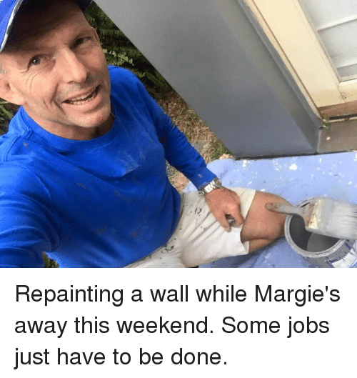 Dank, Jobs, and 🤖: Repainting a wall while Margie's away this weekend. Some jobs just have to be done.