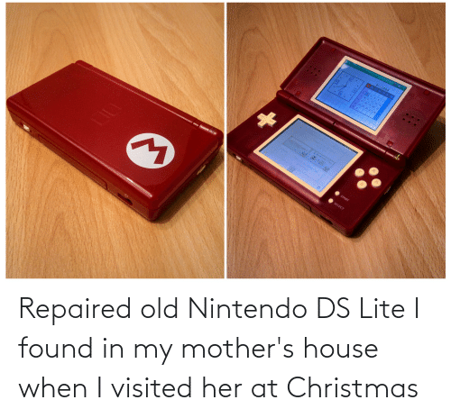 ds lite: Repaired old Nintendo DS Lite I found in my mother's house when I visited her at Christmas