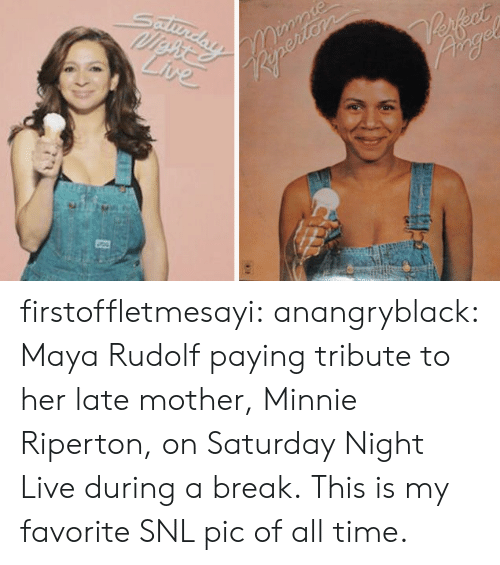 Saturday Night Live: Reperiers  Live  AD firstoffletmesayi:  anangryblack:  Maya Rudolf paying tribute to her late mother, Minnie Riperton, on Saturday Night Live during a break.  This is my favorite SNL pic of all time.