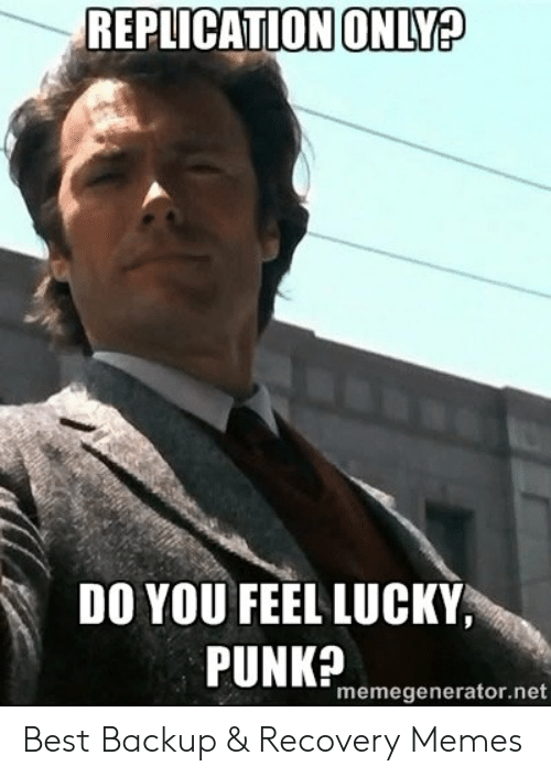 do you feel lucky punk: REPLICATION ONLY?  DO YOU FEEL LUCKY,  PUNK?  memegenerator.net Best Backup & Recovery Memes