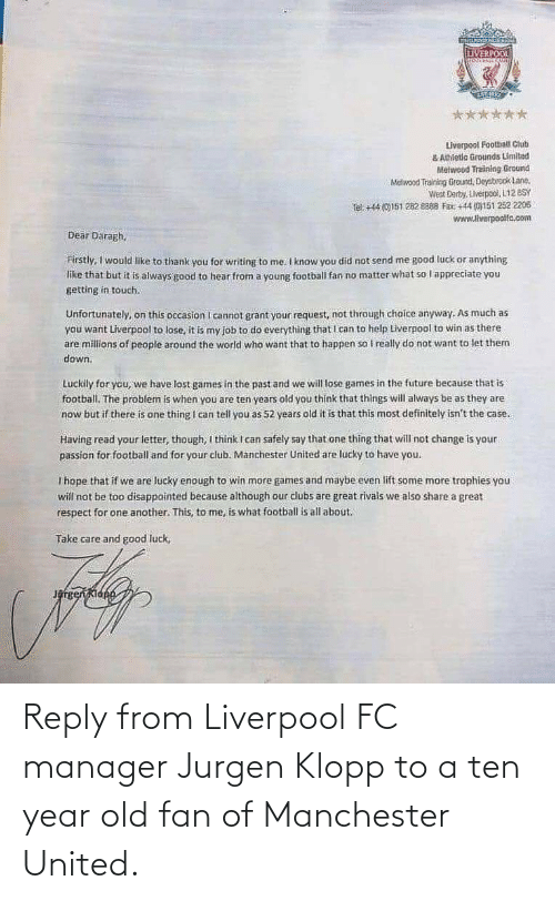 Manchester United: Reply from Liverpool FC manager Jurgen Klopp to a ten year old fan of Manchester United.