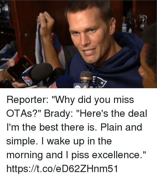 "Tom Brady, Best, and Brady: Reporter: ""Why did you miss OTAs?""  Brady: ""Here's the deal I'm the best there is. Plain and simple. I wake up in the morning and I piss excellence."" https://t.co/eD62ZHnm51"