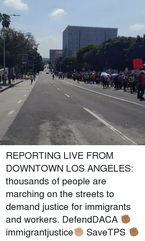 Memes, Streets, and Justice: REPORTING LIVE FROM DOWNTOWN LOS ANGELES: thousands of people are marching on the streets to demand justice for immigrants and workers. DefendDACA ✊🏾 immigrantjustice✊🏽 SaveTPS ✊🏾