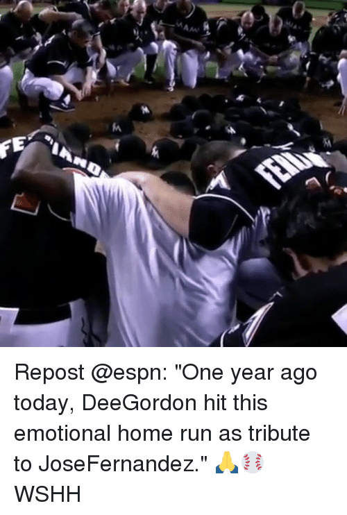 """Espn, Memes, and Run: Repost @espn: """"One year ago today, DeeGordon hit this emotional home run as tribute to JoseFernandez."""" 🙏⚾️ WSHH"""