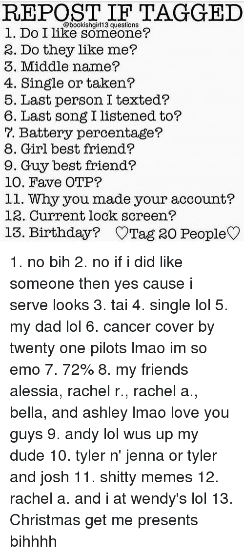 Best Friend Birthday And Emo Repost If Tagged Bookish13 Questions L