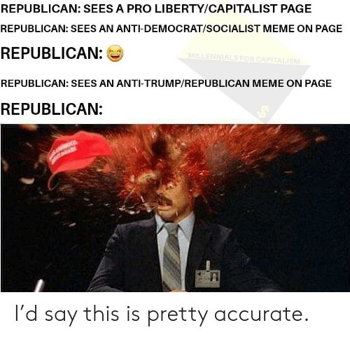 Republican Meme: REPUBLICAN: SEES A PRO LIBERTY/CAPITALIST PAGE  REPUBLICAN: SEES AN ANTI-DEMOCRAT/SOCIALIST MEME ON PAGE  REPUBLICAN:  REPUBLICAN: SEES AN ANTI-TRUMP/REPUBLICAN MEME ON PAGE  REPUBLICAN: I'd say this is pretty accurate.
