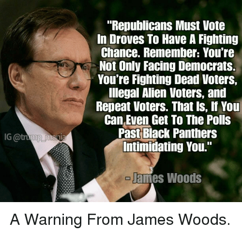 "Alien, Black, and Panthers: ""Republicans Must Vote  In Droves To Have A Fighting  Chance. Remember: You're  Not Only Facing Democrats  You're Fighting Dead Voters,  lIlegal Alien Voters, and  Repeat Voters. That ls, If You  Can Even Get To The Polls  Past Black Panthers  Intimidating You.""  G @tump mania  ames Woods"
