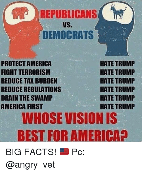 Hate Trump: REPUBLICANS  VS.  DEMOCRATS  PROTECTAMERICA  FIGHT TERRORISM  REDUCE TAK BURDEN  REDUCE REGULATIONS  DRAIN THE SWAMP  AMERICA FIRST  HATE TRUMP  HATE TRUMP  HATE TRUMP  HATE TRUMP  HATE TRUMP  HATE TRUMP  WHOSE VISION IS  BEST FOR AMERICA? BIG FACTS! 🇺🇸 Pc: @angry_vet_
