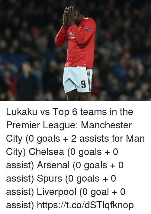 Arsenal, Chelsea, and Goals: RES  ac  CHERO Lukaku vs Top 6 teams in the Premier League:  Manchester City (0 goals + 2 assists for Man City)   Chelsea (0 goals + 0 assist)  Arsenal (0 goals + 0 assist)  Spurs (0 goals + 0 assist)  Liverpool (0 goal + 0 assist) https://t.co/dSTlqfknop