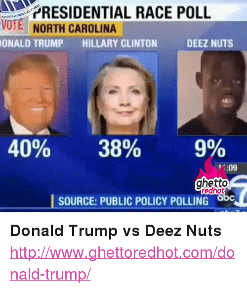 """Donald Trump: RESIDENTIAL RACE POLL  VOTE NORTH CAROLINA  ONALD TRUMP HILLARY CLINTON  DEEZ NUTS  40%  38%  9%  11:09  ghetto  redhot  SOURCE: PUBLIC POLICY POLLING <p><strong>Donald Trump vs Deez Nuts</strong></p><p><a href=""""http://www.ghettoredhot.com/donald-trump/"""">http://www.ghettoredhot.com/donald-trump/</a></p>"""