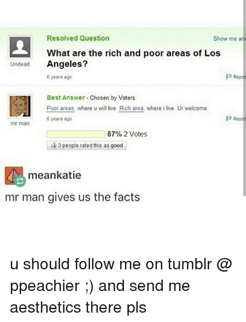 Facts, Memes, and Tumblr: Resolved Question  Show me an  What are the rich and poor areas of Los  Undead  Angeles?  P Repor  6 years ago  Best Answer Chosen by Voters  Poor areas, where u will live. Rich area, where i live. Ur welcome  P Repor  6 years ago  mr man  67% 2 Votes  3 people rated this as good  mean katie  mr man gives us the facts u should follow me on tumblr @ ppeachier ;) and send me aesthetics there pls