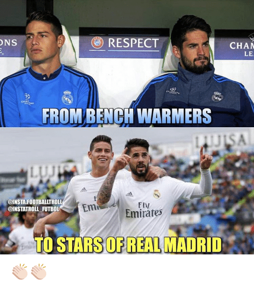 Memes, Real Madrid, and Emirates: RESPECT  ONS  CHAM  LE  FROM BENCH WARMERS  @INSTAFOOTBALLTROLL  Emi  @INSTATROLL FUTBOL  Emirates  TO STARS REAL MADRID 👏🏻👏🏻
