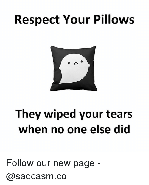 Memes, Respect, and 🤖: Respect Your Pillows  They wiped your tears  when no one else did Follow our new page - @sadcasm.co