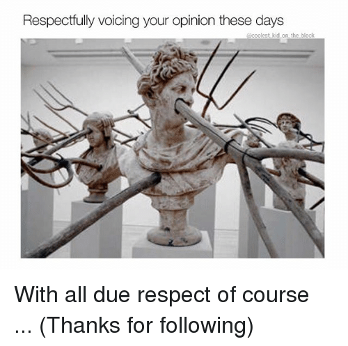 Memes, Respect, and 🤖: Respectfully voicing your opinion these days  acoolest kid on the block With all due respect of course ... (Thanks for following)
