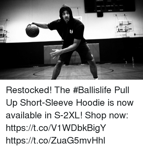 Memes, 🤖, and Shop: Restocked! The #Ballislife Pull Up Short-Sleeve Hoodie is now available in S-2XL!  Shop now: https://t.co/V1WDbkBigY https://t.co/ZuaG5mvHhl