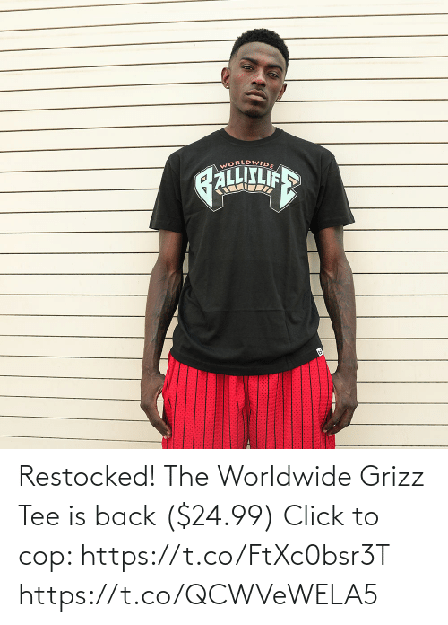 tee: Restocked! The Worldwide Grizz Tee is back ($24.99)  Click to cop: https://t.co/FtXc0bsr3T https://t.co/QCWVeWELA5