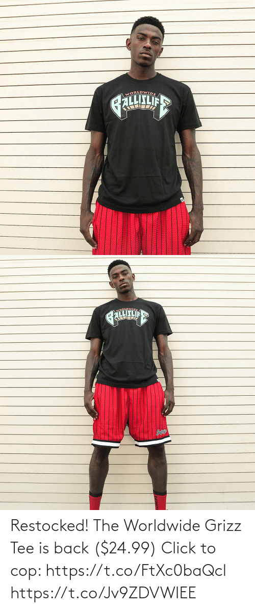 tee: Restocked! The Worldwide Grizz Tee is back ($24.99)  Click to cop: https://t.co/FtXc0baQcl https://t.co/Jv9ZDVWIEE