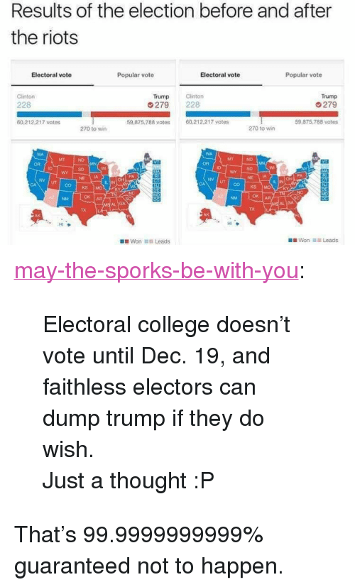 """Dump Trump: Results of the election before and after  the riots  Electoral vote  Popular vote  Electoral vote  Popular vote  Clinton  Trump  279  59 875,788 votes  Trump  228  279 228  60.212.217 votes  59.875.788 votes  60.212.217 votes  270 to wirn  270 to wir  MT  OR  SD  SD  NE IA  NV UT  NV  UT  VA  OK AR  TX  TX  HI  Won 11.1 Leads <p><a href=""""http://may-the-sporks-be-with-you.tumblr.com/post/153107737667/electoral-college-doesnt-vote-until-dec-19-and"""" class=""""tumblr_blog"""">may-the-sporks-be-with-you</a>:</p> <blockquote> <p>Electoral college doesn't vote until Dec. 19, and faithless electors can dump trump if they do wish.</p> <p>Just a thought :P</p> </blockquote> <p>That's 99.9999999999% guaranteed not to happen.</p>"""