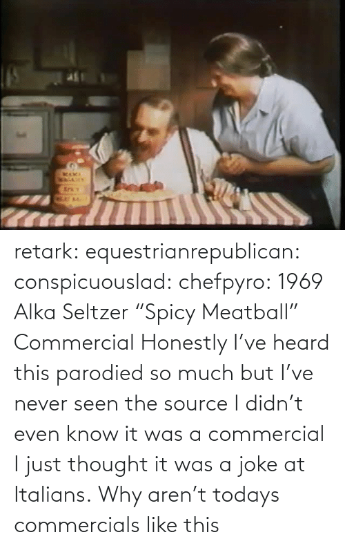 "It Was A: retark:  equestrianrepublican:  conspicuouslad:  chefpyro:  1969 Alka Seltzer ""Spicy Meatball"" Commercial  Honestly I've heard this parodied so much but I've never seen the source  I didn't even know it was a commercial I just thought it was a joke at Italians.  Why aren't todays commercials like this"