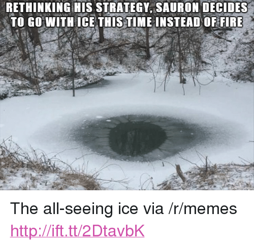 """Fire, Memes, and Http: RETHINKING HIS STRATEGY, SAURON DECIDES  TO GO WITH ICE THIS TIME INSTEAD OF FIRE <p>The all-seeing ice via /r/memes <a href=""""http://ift.tt/2DtavbK"""">http://ift.tt/2DtavbK</a></p>"""