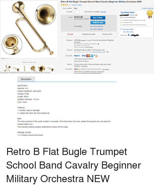 retro b flat bugle trumpet school band cavalry beginner military orchestra new 4 product ratings. Black Bedroom Furniture Sets. Home Design Ideas
