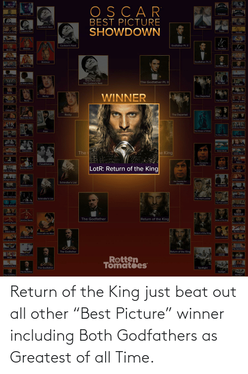 "godfathers: Return of the King just beat out all other ""Best Picture"" winner including Both Godfathers as Greatest of all Time."
