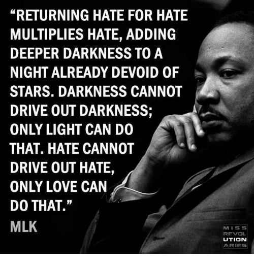 """devoid: """"RETURNING HATE FOR HATE  MULTIPLIES HATE, ADDING  DEEPER DARKNESS TO A  NIGHT ALREADY DEVOID OF  STARS. DARKNESS CANNOT  DRIVE OUT DARKNESS;  ONLY LIGHT CAN DO  THAT. HATE CANNOT  DRIVE OUT HATE,  ONLY LOVE CAN  DO THAT.""""  MLK  MISS  REVOL  UTION  ARIES"""