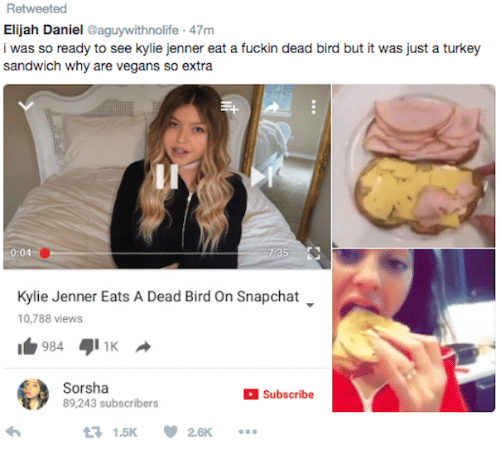 turkey sandwich: Retweeted  Elijah Daniel aguywithnolife 47m  i was so ready to see kylie jenner eat a fuckin dead bird but it was just a turkey  sandwich why are vegans so extra  0:04  35  Kylie Jenner Eats A Dead Bird On Snapchat  10,788 views  Sorsha  89,243 subscribers  Subscribe  1.5K26K