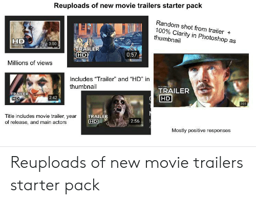 "movie trailers: Reuploads of new movie trailers starter pack  Random shot from trailer +  100% Clarity in Photoshop as  thumbnail  HD  TRAILER  3:50  TRAILER  HD  0:57  Millions of views  Includes ""Trailer"" and ""HD"" in  oRLE  thumbnail  TRAILER  HD  TRAILER  HD  2:42  2:05  us  Title includes movie trailer, year  of release, and main actors  TRAILER  HD  2:56  Mostly positive responses Reuploads of new movie trailers starter pack"